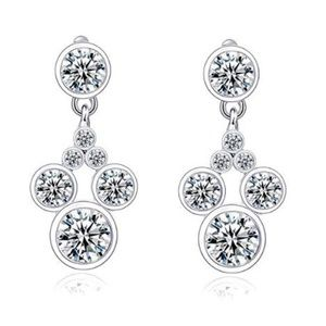 18k White GP Mickey Mouse CZ Dangling Earrings